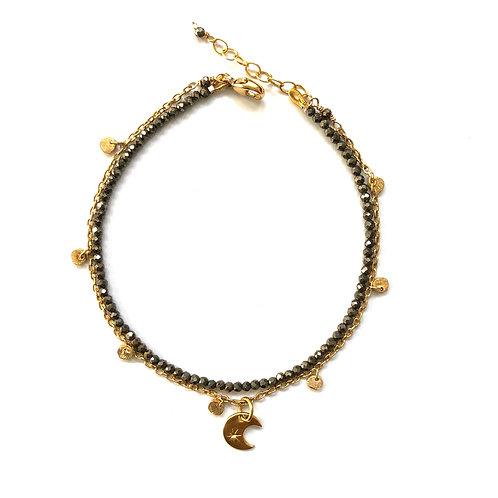 Pyrite Moon double strand bracelet