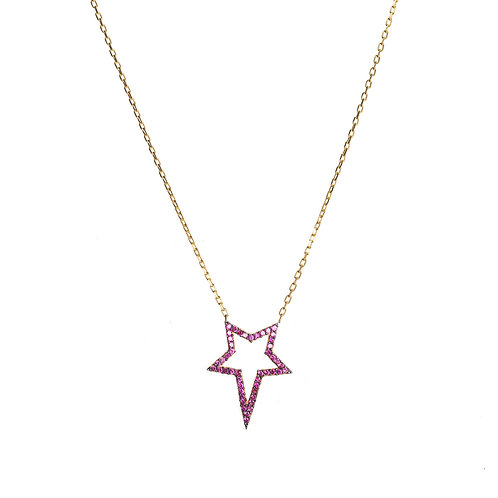 Hot Pink Star CZ Necklace