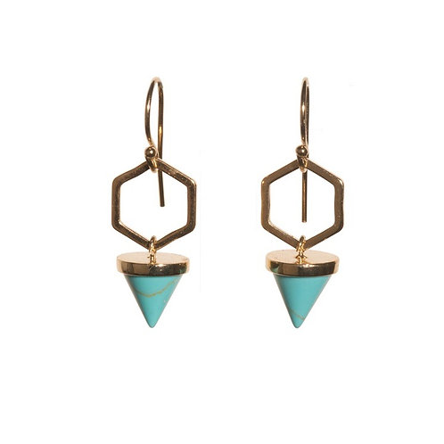 Turquoise Hexagon Cone Earrings