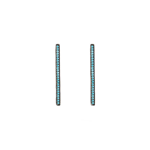 Turquoise Bar CZ Studs