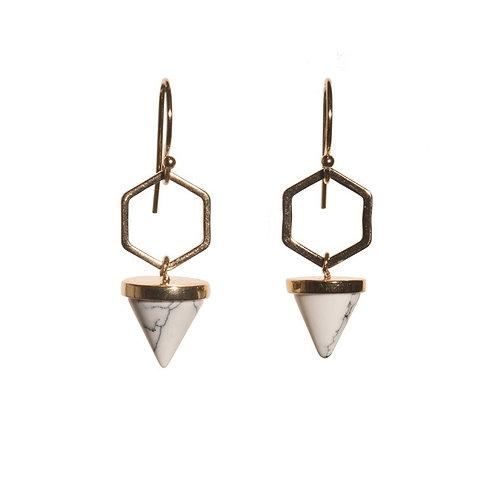 Hexagon Cone White Earrings