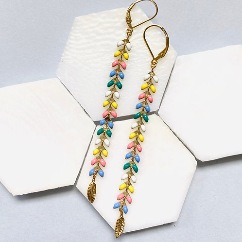 Wisteria Spring Multi Coloured Drop Earrings