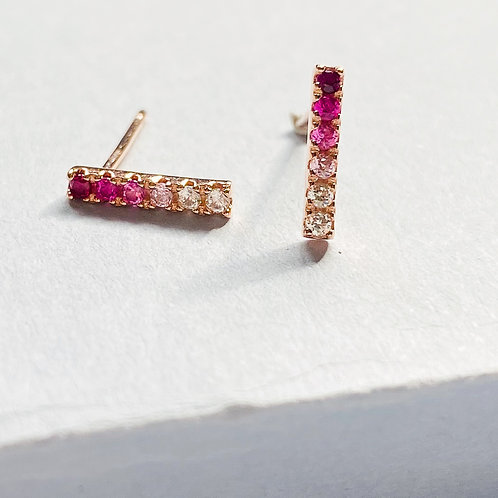 Pink Ombre Bar Cubic Zirconia Ministud Earrings