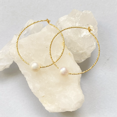 Gold Sparkle Hoops with Pearl