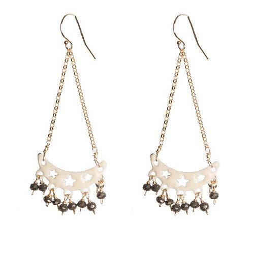 White Dangly Star Earrings