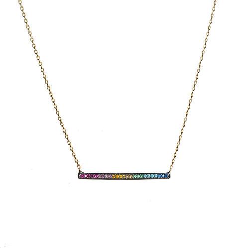 Rainbow Bar CZ Necklace