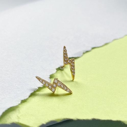 Lightning Bolt Cubic Zirconia Ministud Earrings