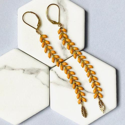 Wisteria Ochre Yellow Drop Earrings
