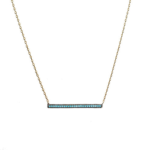 Turquoise Bar CZ Necklace