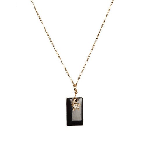 Black Block Necklace with Star