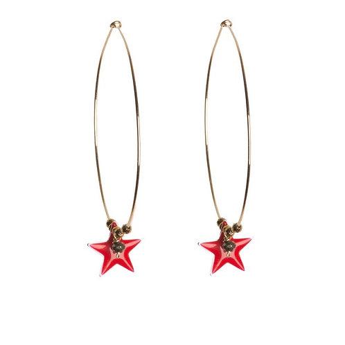 Red Pop Star Hoops