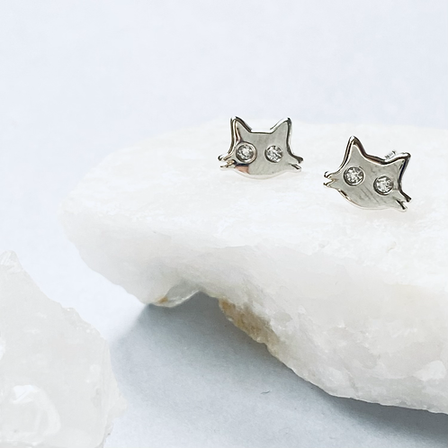 Mini CZ Cat Stud Earrings