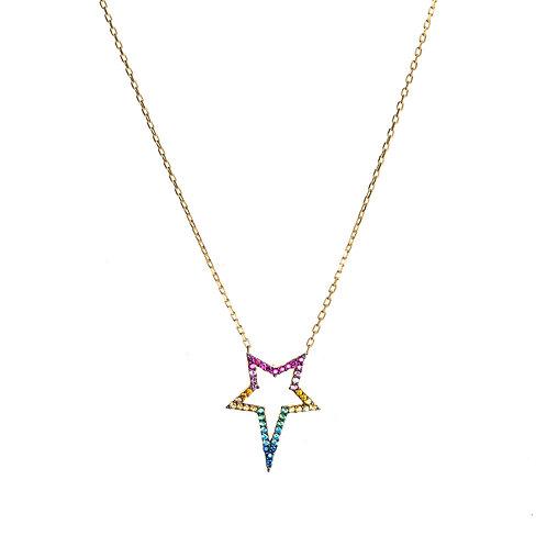 Rainbow Star CZ Necklace