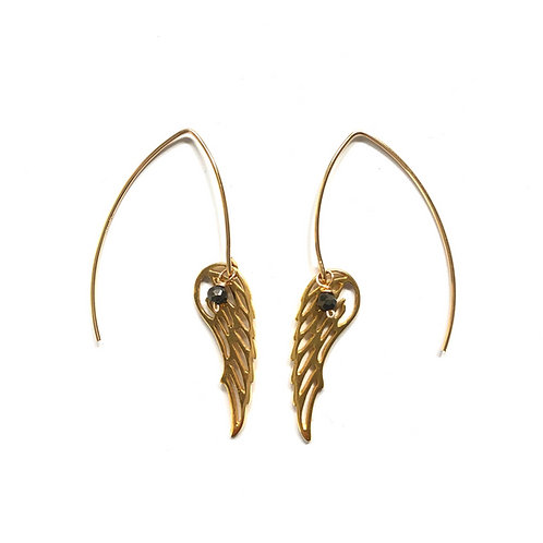 Angel Wing Ear Hooks with Pyrite