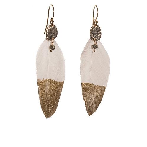 Pale Grey Feather Earrings