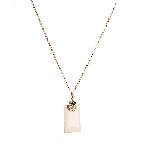 White Block Necklace with Moon