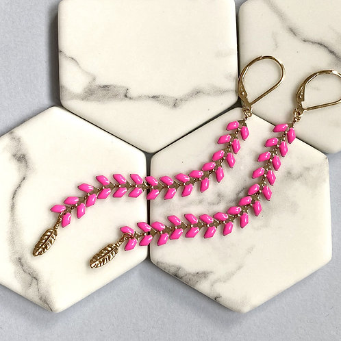 Wisteria Bright Pink Drop Earrings