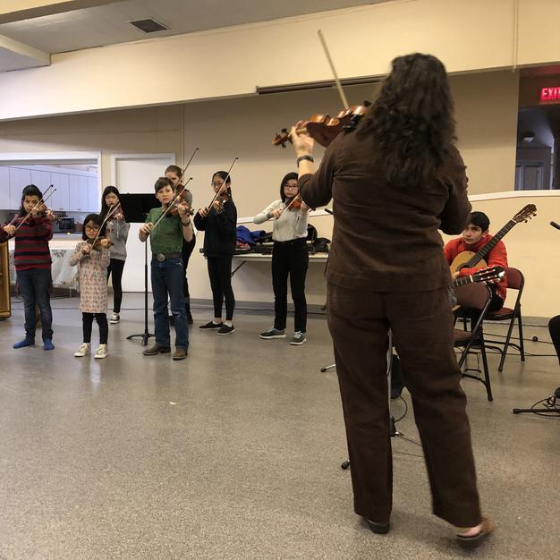 Winter Workshop 2020. Violin Group Play in. Instructors Andrea Hudson and Heidi. Collaborative pianist Steve Komar.