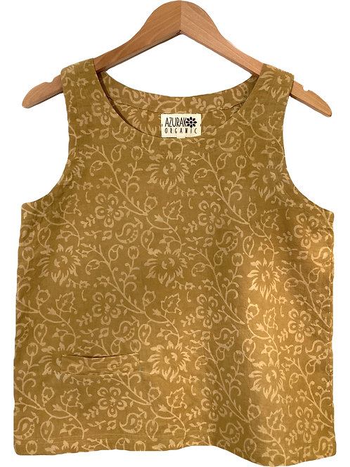 Organic Ochre Flower Pocket Top