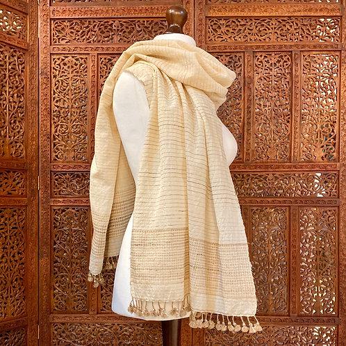 Wool & tassar silk shawl