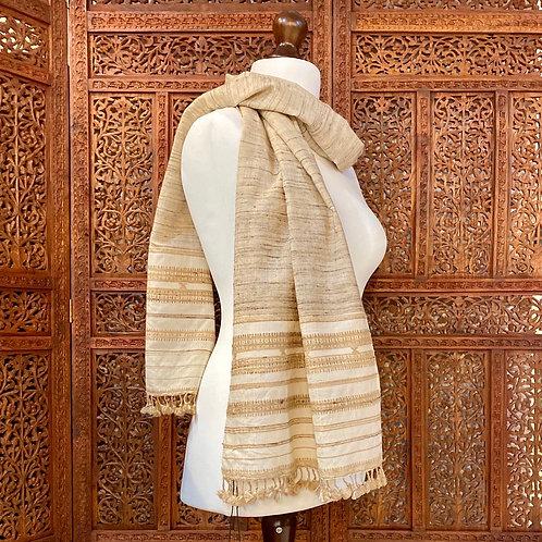 Hand loom tassar silk & wool scarf