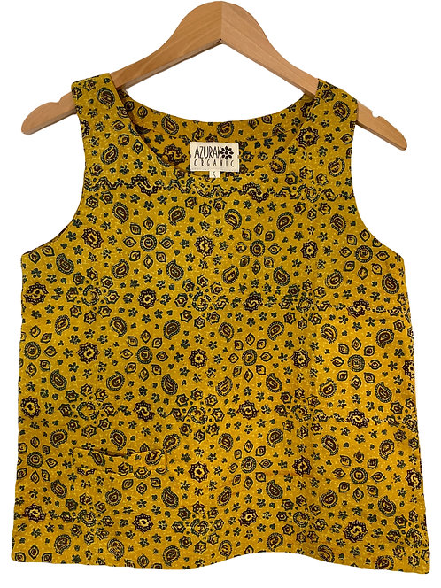 Organic Yellow Ajrakh Pocket Top