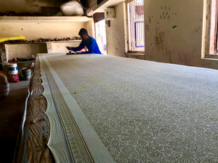 Printing tables are ususally about 6 metres long, these means all our fabrics come in 6 metre pieces rather than the big wide roles of other fabrics.