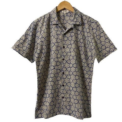 Indigo on white star pattern shirt. Short sleeve