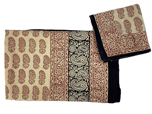 Bagru print king size/double sheet + 2 pillow cases