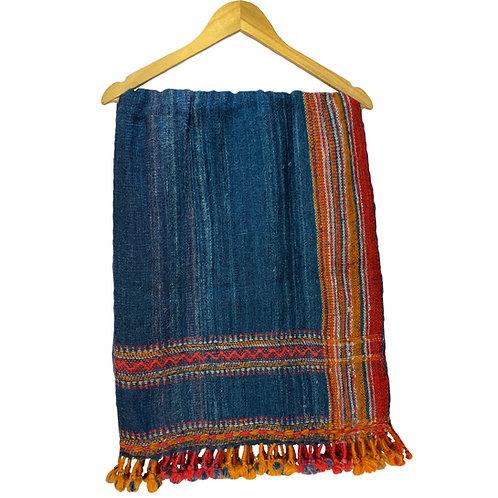 Indigo wool blanket