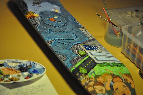 Blue Monster Skateboard