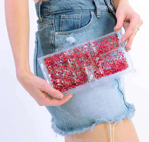 Liquid Glitter Wallet - Red Hearts & Stars