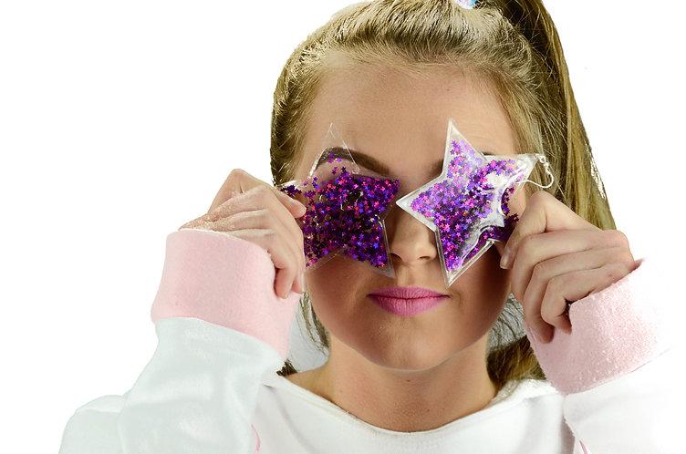 Liquid Glitter Star Earrings - Galaxy Purple