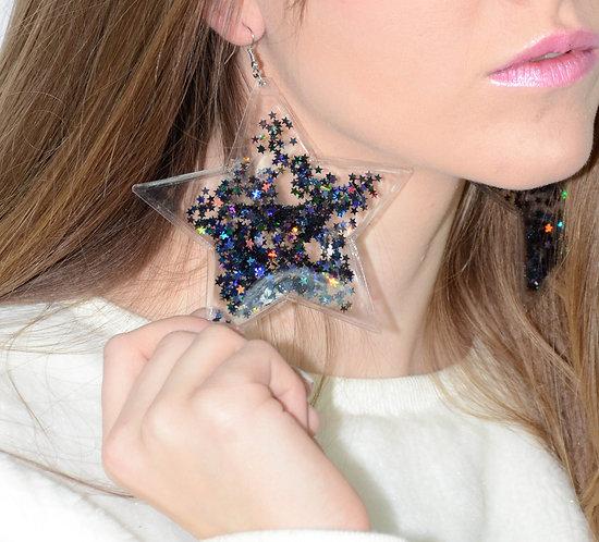 Liquid Glitter Star Earrings - Midnight Black