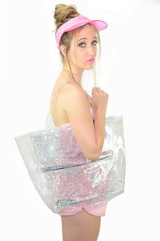 Liquid Glitter Tote Bag - Atomic Silver