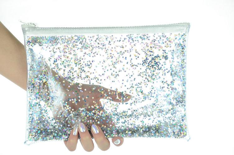 Liquid Glitter Clutch - Atomic Silver
