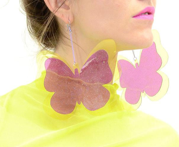 Butterfly Earrings - Yellow & Purple