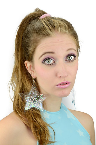 Liquid Glitter Star Earrings - Atomic Silver