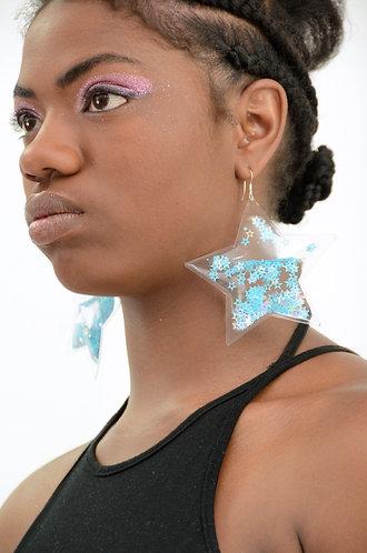 Liquid Glitter Earrings - Stars - Galactic Blue
