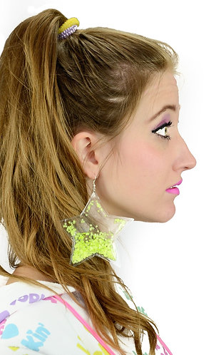 Liquid Glitter Star Earrings - Neon Yellow