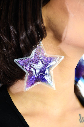 Glitter Goo Star Earrings - Moonlight