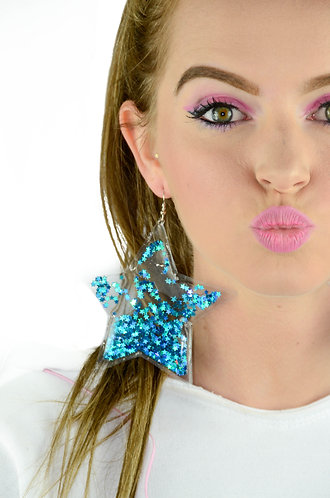 Liquid Glitter Star Earrings - Mermaid Blue