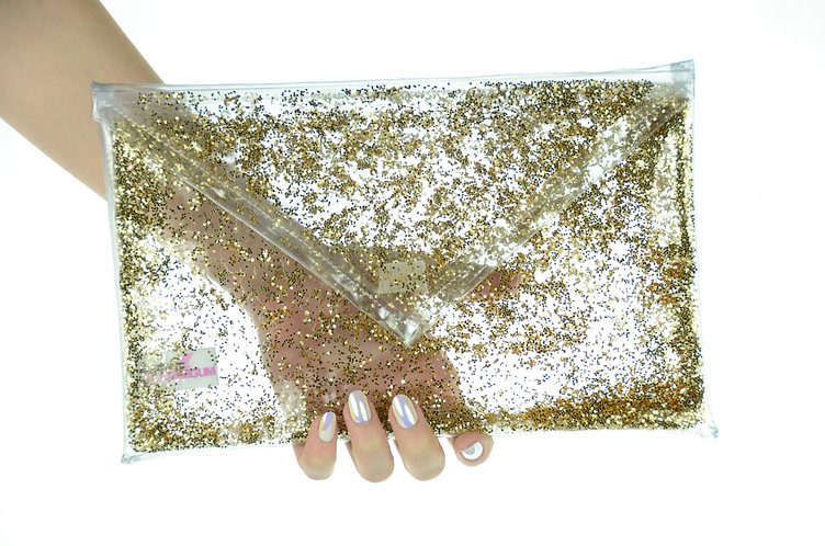 Liquid Glitter Fold Over Clutch - Bold Gold