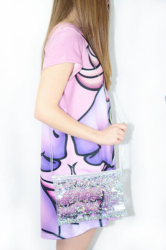 Liquid Glitter Cross Body Bag - Atomic Silver