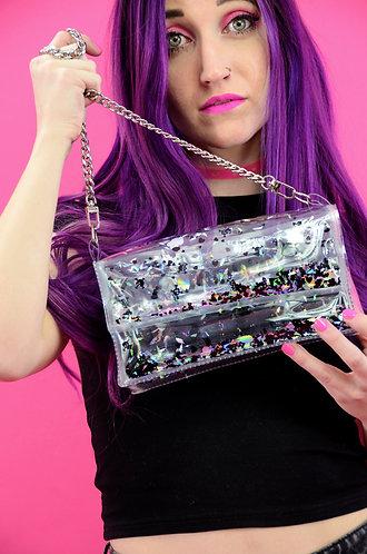 Liquid Glitter Mini Purse -Dark Hearts