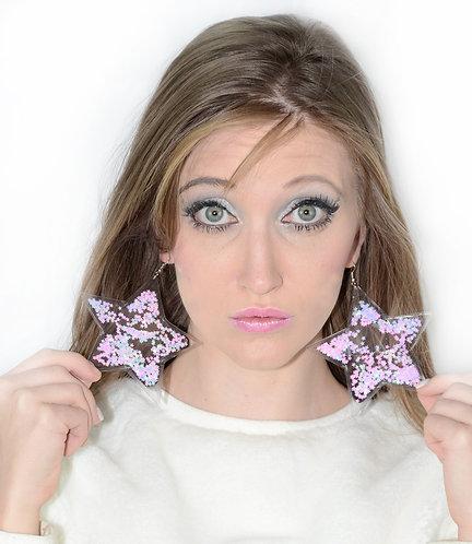Liquid Glitter Star Earrings - Cotton Candy Swirl