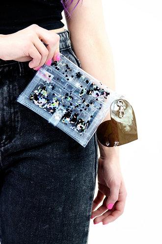 Liquid Glitter Mini Wallet - Dark Hearts