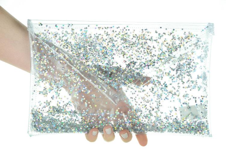 Liquid Glitter Fold Over Clutch - Atomic Silver