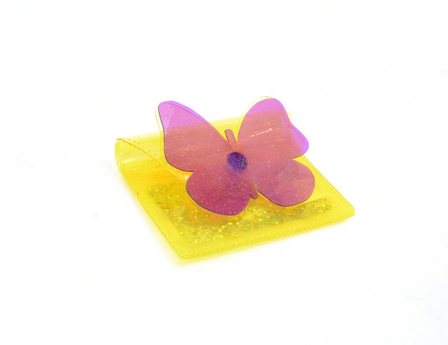 Butterfly Kisses Cardholder with Liquid Glitter - Yellow & Purple