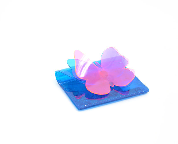 Butterfly Kisses Cardholder with Liquid Glitter - Blue & Pink